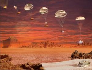 Huygens descending on Titan (image courtesy NASA/JPL-Caltech)