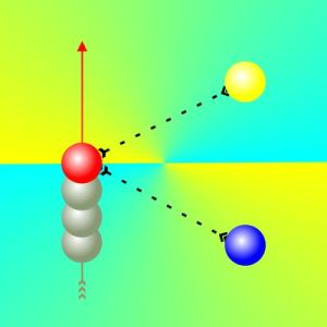 3 electrons moving north
