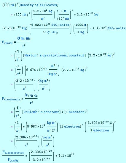 gravity vs electrostatic calculation