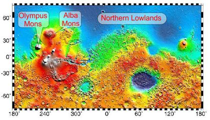 Labeled Mars map 420