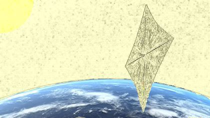 Lightsail 2 flying over Earth, against a yellow background